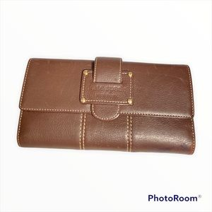 Kate Spade Brown leather trifold wallet snap front